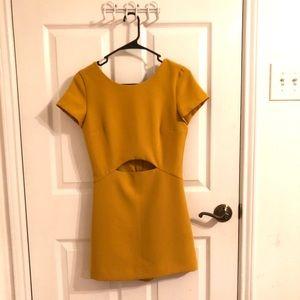 Mustard yellow Zara dress in front/ shorts in back